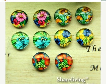 20% OFF SALE - 10pcs 12mm Mixed Handmade Photo Glass Cabochon / Wooden Cabochon  -- MCH011P