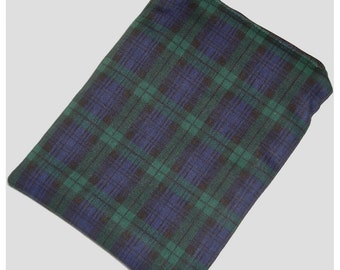 """Blackwatch Tartan  Kindle 6 Wi-Fi Paperwhite or Kindle Touch 6"""" Nook or Kobo Case Cover Sleeve Pouch Plaid Black, Blue and Green Check"""