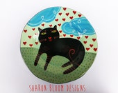 Ceramic Black Cat Hearts Art Plate Love is in the Air Valentine Hand Painted by Sharon Bloom Designs