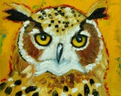 Owl painting 116 12x12 inch original oil painting by Roz