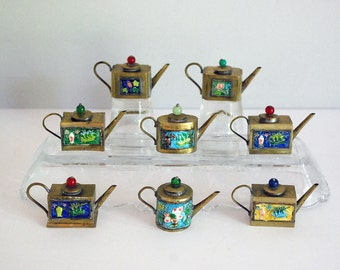 Miniature Brass Teapot, One Chinese Enamel Teapot, Mini Brass Coffee Pot, Antique Doll House Toy Dishes, Asian Decor, Chinoiserie