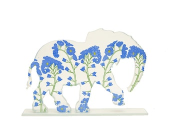 Forget Me Knot Elephant Glass Sculpture Custom Screen Print Colours