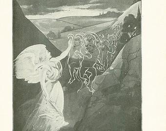ON SALE Vintage Angel Print The Devil Satan Antique Christian Book Illustration 1911 Demons