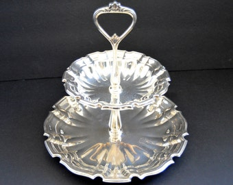 Vintage Two Tier Serving Tray -Silver Plated Dish Holder Silver Hostess Gift  Weddings Appetizer Tray Ornate Scallop Hors D'oervres