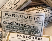 Antique Pharmacy Labels  Group of 20 Pharmacy Labels Two Styles in Mixture  Pargoric Pharmacy Labels  Party Glass Ready