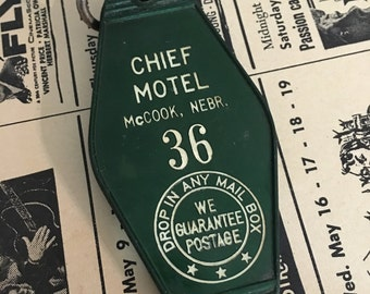 1960 Vintage Hotel Key Fob  Hotel Key Fob Chief Motel Mc Cook, Nebraska  Room Number 36