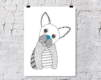 Doodle French Bulldog – Nursery Art Print