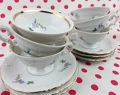 Tea Cups & Saucers SET of 6 pretty flowers Gold trim Wawel Poland small size for Girl's TEA PARTY