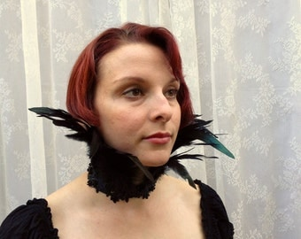 Maleficent feather collar - premium beaded feather choker - goth Victorian feather necklace - limited edition black feather choker necklace