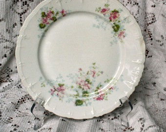 Hasburg Fine China Made in Austria Antique Floral Medley China 8.5 inch Scalloped Plate