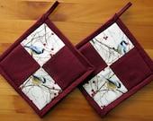 Set of 2 Chickadee Four Patch Potholders, Bird Kitchen Decor, Chickadee Kitchen Theme, Fabric Potholders, Chickadee Hot Pads