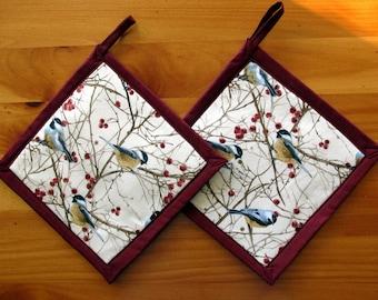 Chickadee Potholders, Bird Kitchen Decor, Chickadee Kitchen Theme, Fabric Potholders, Chickadee Hot Pads, Set of 2