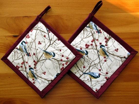 Chickadee Potholders Bird Kitchen Decor By Wildernessties