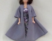 "11.5"" Fashion Doll Coat Swing coat in grey wool with dress and courture hat band"