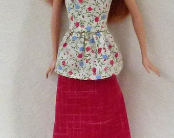 """11.5"""" Handmade Fashion Doll Outfit - skirt and top"""