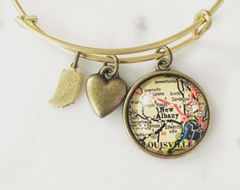 New Albany Indiana Map Charm Bangle Bracelet - Map Jewelry - Louisville - Midwest is Best - Hometown Love