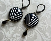 Puttin on the Ritz tuxedo black and white ART DECO inspired drop earrings formal vintage style