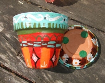 Flower Pot - Hand Painted Terracotta Clay Planter & Saucer - Unique Garden Folk Art - Colorful Charming Plant Jewels - Make Perfect Gifts
