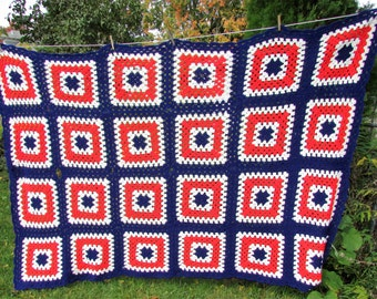 Vintage Blanket Afghan Crochet RED White and Blue Throw Granny Square Bedspread Boho