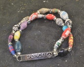PEACE Upcycled Paper Bead STRETCH Bracelet Multi Colored One Size Fits Most