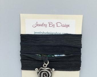 Hand dyed silk ribbon wrap bracelet