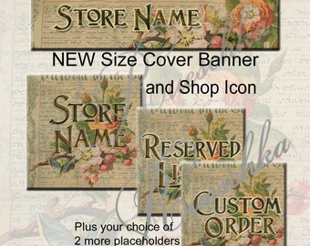 By The Grace Etsy Shop Icons Cover Banner Graphics Set Victorian Floral Flowers Antique Vintage