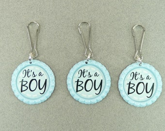 It's A Boy ZIPPER PULLS Tags Blue Bottle Caps Lanyard Hooks | Gender Reveal Suprise Party | Baby Shower | Diaper Bags Daycare Babysitter