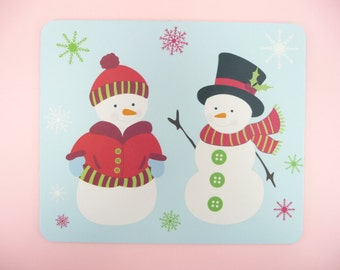 MOUSE PAD SNOWMAN Snowmen Holiday Christmas Decor Desk Table Gift Giving Snowflakes Red Green Blue White