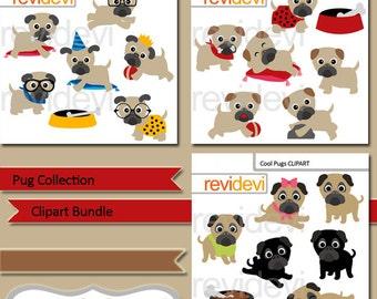 Pug collection clipart bundle, cute pug puppy, pet, dog, digital images