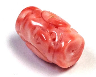 Vintage ANGEL SKIN Precious CORAL Pink Carved Barrel 7.2 grams 22.4x14mm cor4