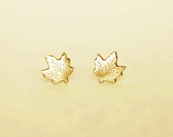 Brass Gold Maple Stud Earrings 925 Sterling Silver Posts,Maple Leaf Earrings Hypoallergenic Earrings Bridesmaid Gift,Everyday Jewelry,Simply