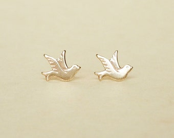 Teeny Tiny Brass Gold Flying Dove Bird Stud Earrings 925 Sterling Silver Posts,Bridesmaid Gift. Minimal Jewelry,Everyday Jewelry,Animal
