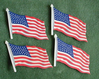 Four Vintage Die Cut Dennison Patriotic Red White and Blue Flags Crafts Scrapbooking