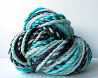 yarn, wool yarn, handspun yarn, hand spun yarn, rainbow yarn, 2ply candy cane yarn, bulky wool yarn, hand dyed yarn .. candy cane 5