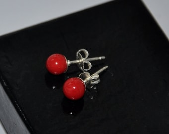 Red Coral Earrings, 6mm Ball Stud Earrings, Gemstome Jewelry, Coral Jewelry, Sterling Silver