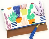 Boho Tassel Clutch in Colorful Cactus Print with Tan Faux Leather and Mint and Gold Tassel