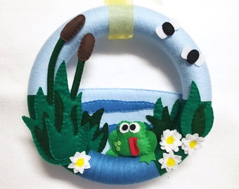 Frog Wreath, Summer Wreath, Door Hanger, Frog Pond, Dale the Frog, Cattails, Felt and Yarn Wreath
