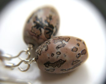 Leopard Skin Jasper Earrings . Astronomy Jewelry . Red Jasper Earrings . Natural Stone Earrings Sterling Silver - Owl Head Collection NEW
