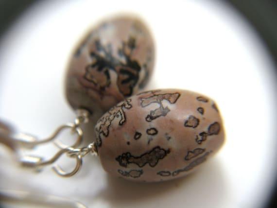 Leopard Skin Jasper Earrings . Astronomy Jewelry . Red Jasper Earrings . Natural Stone Earrings Sterling Silver - Owl Head Collection
