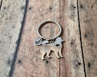 Husky dog initial key ring- dog breed key ring, gift for husky owner, silver akita key ring, malamute accessories, akita keyring, husky gift