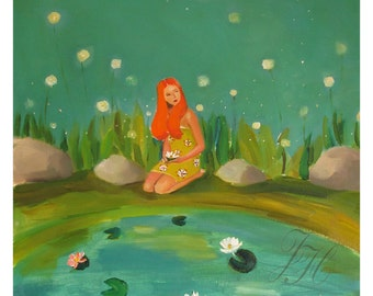 Moon Flowers. Art Print