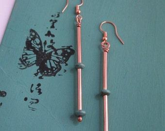 Long dangle copper and turquoise earrings - copper jewelry - copper earrings