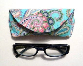 Paisley Reading Eyeglass or Sunglass Case with Magnetic Closure