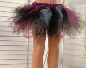 Burgundy Black and Grey Trashy TuTu Skirt Child Size 4-8 MTCoffinz - Ready to Ship
