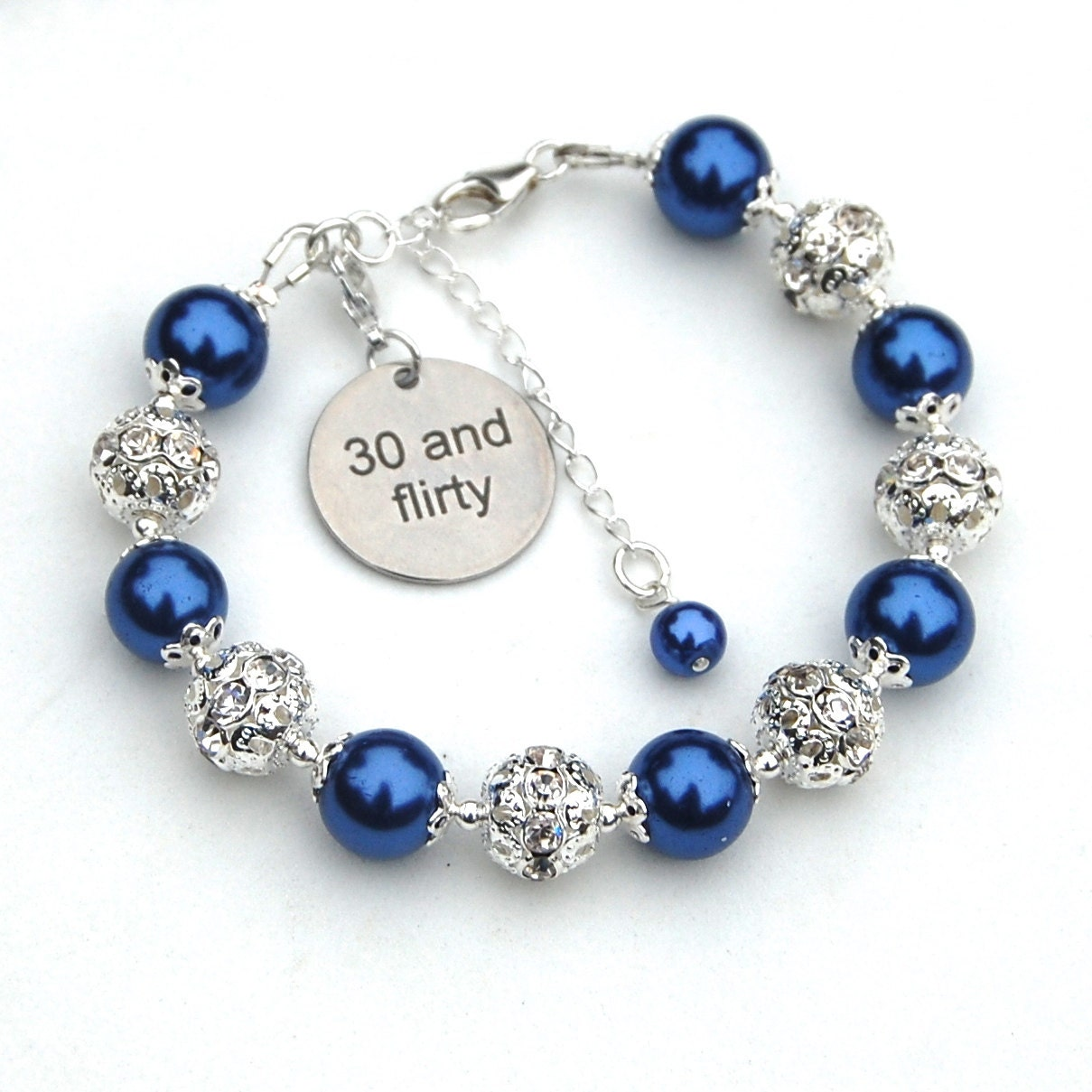 30th birthday gift for her 30 and flirty 30 charm bracelet