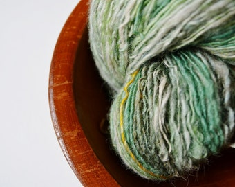 Spring Green Skein - Handspun Hand-Dyed Shetland Wool with Bamboo and Sari Silk - Green, Gold, Off White, Dandelion, abt 260 Yards Fingering