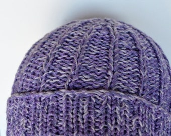 October Sale Hand Knit Hat - Hallgrímur - Hand Knit Hat in Lilac, Orchid, Lavender Purple - Radiant Orchid - Vegan Friendly, All Cotton, Nat