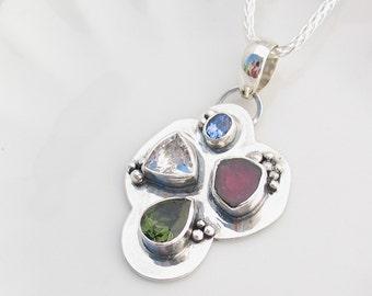 Multistone Heady Pendant, Tanzanite, Watermelon Tourmaline, Herkimer Diamond, Moldavite, Sterling Silver