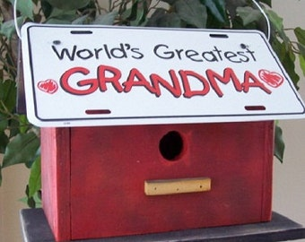 Grandma License Plate Birdhouse Red Fully Functional