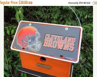 SUMMER SALE Cleveland Browns Vanity Plate  Football  Birdhouse Fully Functional